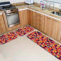 Kit Tapete de Cozinha Triângulos Multi Colorido - Love Decor