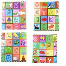 Kit tapete educativo 60x60cm infantil eva alfabeto tatame bebe montavel com 4 placas - Makeda