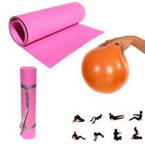 Kit Tapete Eva 1,70 Mts Rosa C/ Alca + Bola Overball 25cm Yoga e Pilates  Mandiali -