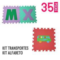 Kit tapete eva alfabeto 26 peças + transportes 9 pçs - Equilíbrio Shop