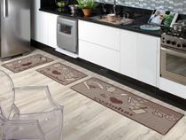 Kit tapete jogo cozinha 3 peças sisal sem pelo 100% antiderrapante não risca o piso sislle lancer -