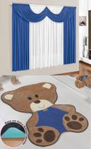 Kit Tapete Urso Bebê Azul Royal Com Cortina 2 Metros Infantil Quarto Menino Fofo - Guga Tapetes