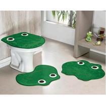 Kit Tapetes De Banheiro Sapinho Antiderrapante 3 Peças - Verde Bandeira - Guga Tapetes