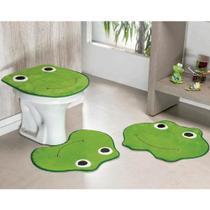 Kit Tapetes de Banheiro Sapinho Antiderrapante 3 Peças - Verde Pistache - Guga Tapetes