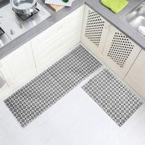 Kit Tapetes de Cozinha Antiderrapante Geométrico 2 Peças Passadeira + Tapete - Perfitec