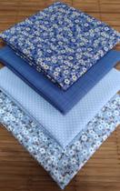 Kit Tecido Floral Azul Algodão 35 x 50 cm 4 Unidades - Inygrand