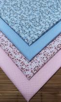 Kit Tecido Patchwork Rosa e Azul Floral 70 x 50 cm 4 Unidades - Inygrand