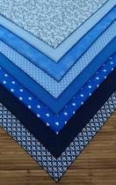 Kit Tecido Tricoline Azul 8 Retalhos 70 x 50 cm - Inygrand