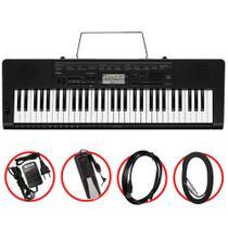 Kit Teclado Casio CTK3500 Arranjador Musical 5/8 Preto com Cabo USB, Cabo P10 e Pedal Sustain -