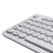 Kit Teclado e Mouse sem Fio 1600 DPI Teclas Redondas Branco OEX POP + TM410 -