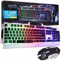 Kit Teclado Gamer Semi Mecânico E Mouse Bk-g3000 Led E Metal