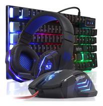 Kit Teclado Mouse 3200dpi Preto Headset Fone Gamer Iluminado - Exbom