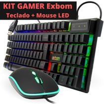 Kit Teclado Mouse Gamer Computador Pc Usb Abnt2 Iluminado Led Rgb Exbom BK-G550 Preto -