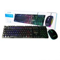 Kit Teclado Mouse Gamer Led Computador PC USB ABNT2 BK-G550 - Exbom