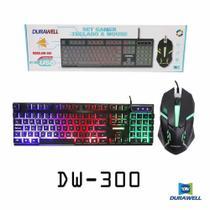 Kit Teclado Mouse Gamer Led Semi-mecânico ABNT2 USB Durawell - DW-300 - X Zhang