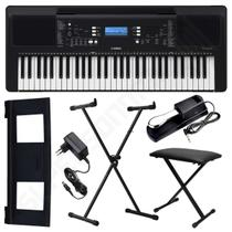 Kit Teclado Musical Arranjador Yamaha PSR E373 61 Teclas + Suporte X + Banqueta X + Pedal Sustain -