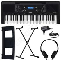 Kit Teclado Musical Arranjador Yamaha PSR E373 61 Teclas + Suporte X + Fone de Ouvido -