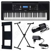 Kit Teclado Musical Arranjador Yamaha PSR E373 61 Teclas + Suporte X + Pedal Sustain -