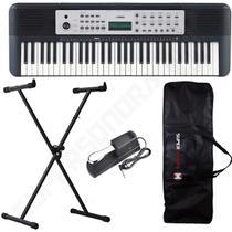 Kit Teclado Musical Arranjador YPT 270 Yamaha 61 Teclas + Suporte em X + Capa + Pedal Sustain -