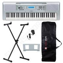 Kit Teclado Musical Arranjador YPT 370 Yamaha Prata 61 Teclas + Suporte X + Capa -