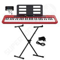 Kit Teclado Musical CASIOTONE CT S200 CASIO Vermelho Aplicativo Chordana Play + Suporte X -