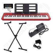 Kit Teclado Musical CASIOTONE CT S200 CASIO Vermelho APP Chordana Play + Suporte X + Pedal -
