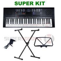 Kit Teclado Musical Estudante Spring Tc 261 61 Teclas + Suporte Em X + Fonte + Suporte Partituras -