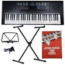 Kit Teclado Musical Estudante Spring Tc 261 61 Teclas + Suporte Em X + Livro Infantil + Fonte -