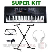Kit Teclado Musical Estudante Spring Tc 261 61 Teclas + Suporte X + Fone + Fonte + Suporte Partitura -