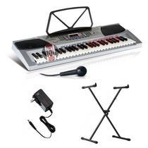 Kit Teclado Musical Keypro 54 Teclas Com Microfone E Suporte Teclado X, 100 Ritmos, 100 Timbres - Wa - Waldman