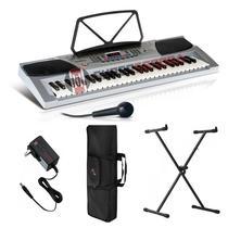 Kit Teclado Musical Keypro 54 Teclas Com Microfone + Suporte Teclado X + Bolsa, 100 Ritmos - Waldman -