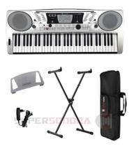Kit Teclado Musical Michael KAM500 61 Teclas Sensitivas + Capa + Suporte em X + Fonte + Suporte Partitura -