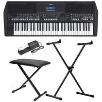 Kit Teclado Musical Yamaha PSR-SX600 Preto + Suporte X + Banqueta X + Pedal Sustain -