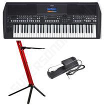 Kit Teclado Musical Yamaha PSR-SX600 + Suporte Stay Slim Vermelho + Pedal Sustain -