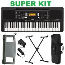 Kit Teclado Psr e363 Yamaha c/ Fonte Bi Volt + Suporte teclado X + Bolsa Protetora -