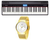 Kit Teclado Roland Go Piano Go61p e Relógio Dk11275-6 -