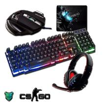 Kit Teclado Semi Mecânico Mouse Gamer Headset + Mouse Pad - Exbom