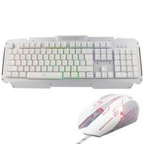 Kit Teclado Semi Mecânico + Mouse Gamer Profissional Usb Abnt2 Led Metal BK-G200 GM-600 Prata Branco - Exbom/infokit