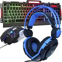 Kit Teclado Semi Mecânico Mouse Headset Gamer Usb P2 Abnt2 Led Metal BKG3000 GHX30 Grafite Azul - Exbom/Infokit