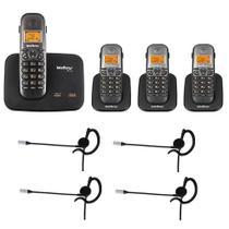Kit Telefone 2 Linhas Ts 5150 + 3 Ramais Ts 5121 + 4 fones HC 10 Intelbras -