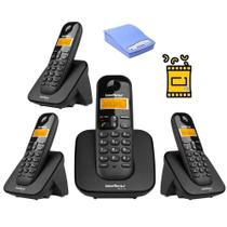 Kit Telefone Fixo Sem Fio TS 3110 Intelbras Bina 3 Ramal interface Para Chip celular 3G Desbloqueado -