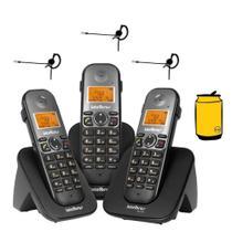 Kit Telefone Fixo sem fio TS 5123 Com 2 ramais Bina 3 Fones - Intelbras