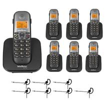Kit Telefone sem fio TS 5120 + 6 Ramais TS 5121 + 7 Fones HC 10 - Intelbras