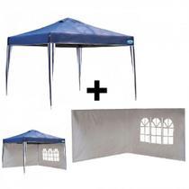 Kit Tenda Dobravel Azul Base e Topo 3x3 M + 2 Paredes na Cor Branca  Mor -