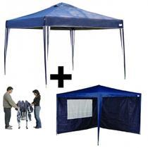 Kit Tenda Dobravel Base e Topo 3 X 3m + 2 Paredes em Oxford  Mor -