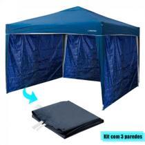 Kit Tenda Dobravel Trixx 3m X 3m Base e Topo + 3 Paredes Laterais Azul  Nautika -