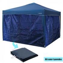 Kit Tenda Dobravel Trixx 3m X 3m Base e Topo + 4 Paredes Laterais Azul  Nautika -