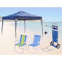 Kit Tenda Dobravel X-flex 3x3 M + Carrinho de Praia + 2 Cadeiras de Praia  Mor -