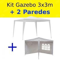 Kit Tenda Gazebo 3x3 Mts + 2 Paredes Cor Branca  Bel