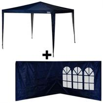Kit Tenda Gazebo 3x3 Mts de Encaixe Azul + 2 Paredes Laterais  Mor